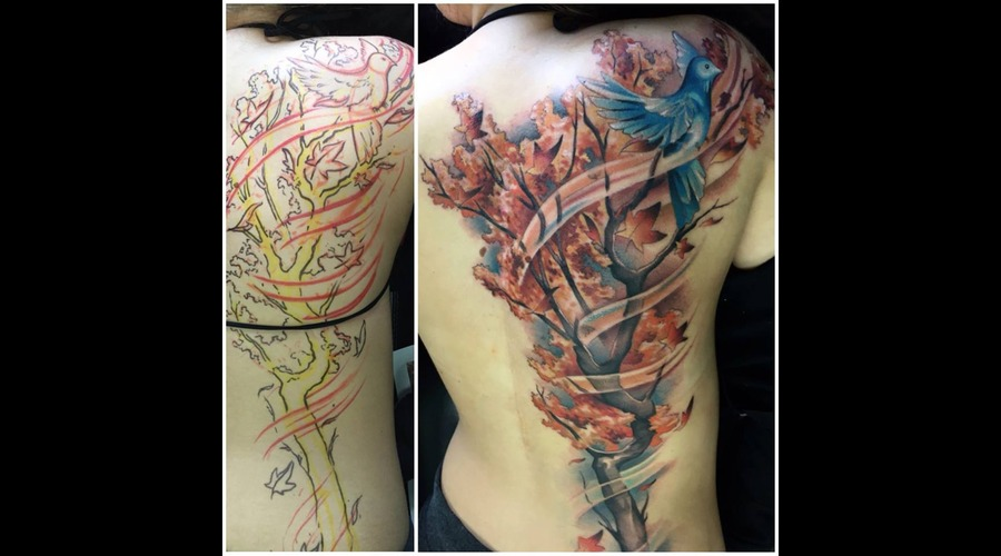 Bird  Tree  Free Hand Tattoo  Leaves  Full Color  Color Tattoo  Back Tattoo Back