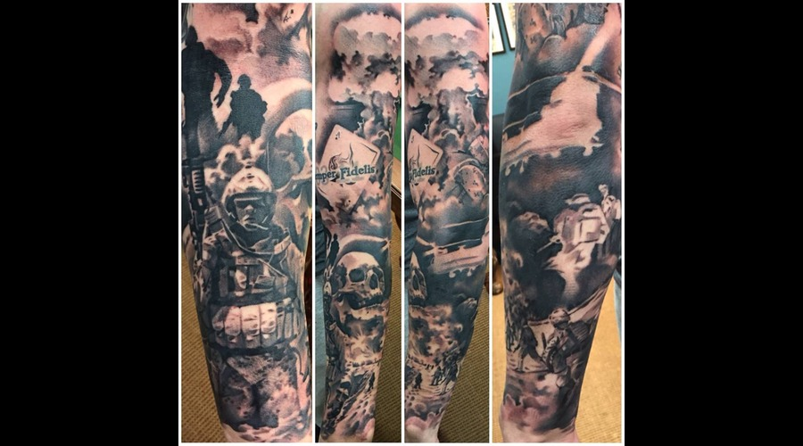 Black And Grey  Custom  Skulls  Military  Military Tattoo  Full Sleeve Arm