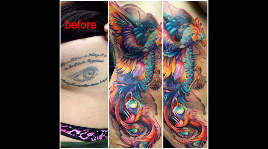 Cover Up  Phoenix  Full Color  Bird  Rib Tattoo  Custom Ribs
