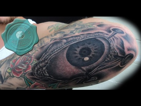 Black And Grey  Eyeball   Elbow Tattoo Black White