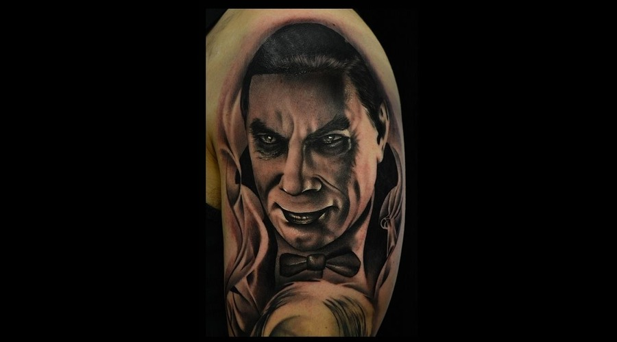Horror Sleeve Dracula Tattoo Photorealistic Tattoo Black And Grey  Portrait Arm