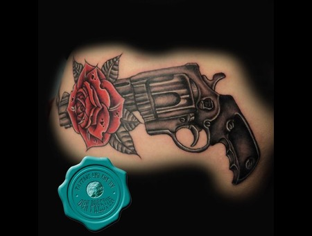 Gun  Flower  Side Tattoo Black White