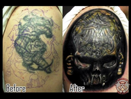 Cover Up Skull Shoulder