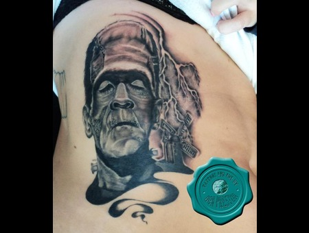 Frankenstein  Portrait  Horror  Side Tattoo Black White