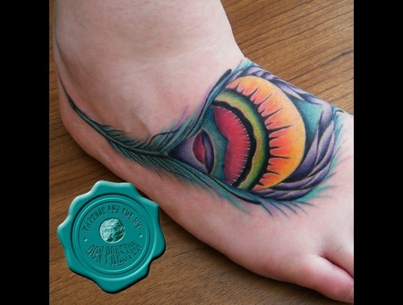 Peacock Feather  Color  Foot Tattoo Color