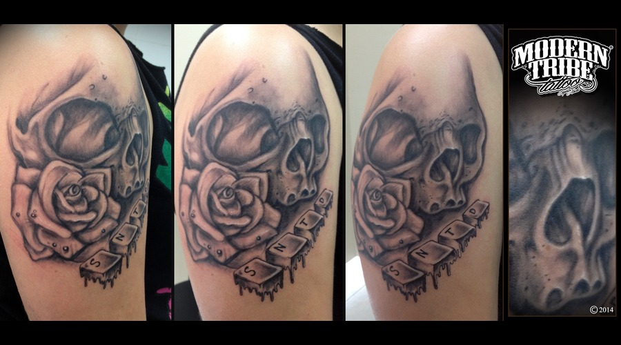 Skull And Rose Arm