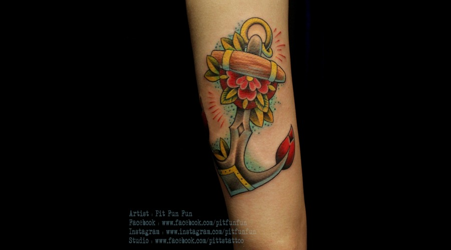 Traditional Anchor Tattoo By Pit Fun Fun Arm