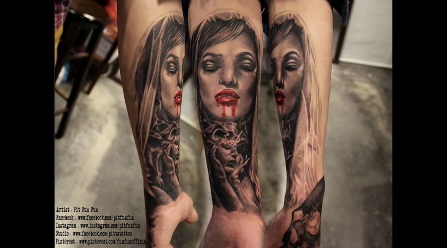Vampire Tattoo By Pit Fun Fun Forearm