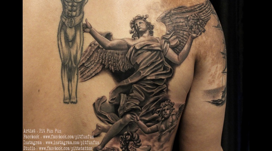 Angel Stone Statue Tattoo By Pit Fun Fun Shoulder