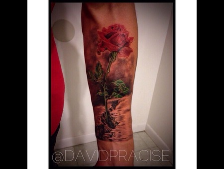 Rose Grown From Concrete Forearm