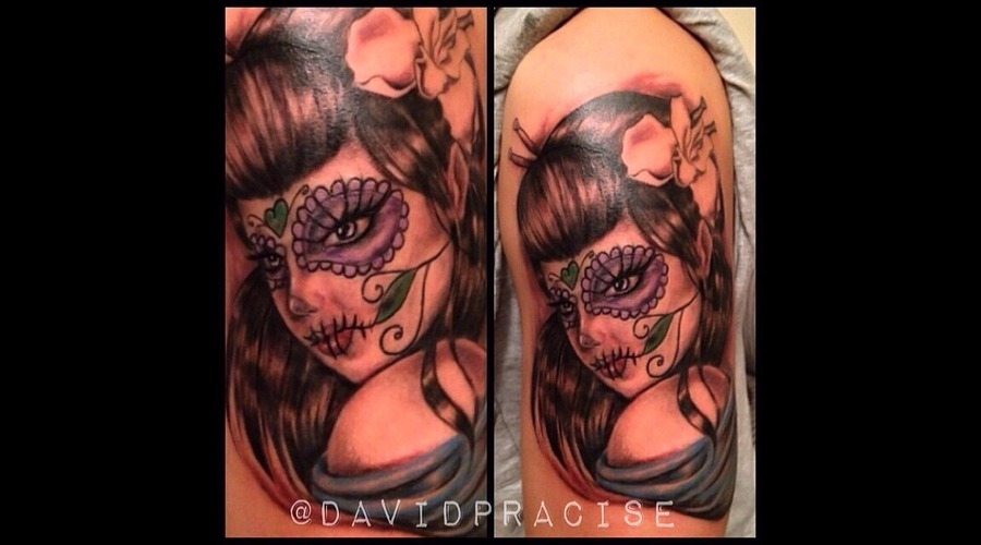 Custom Day Of The Dead Geisha. Shoulder