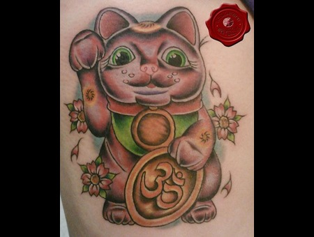 Cat  Japanese  Leg Tattoo Color
