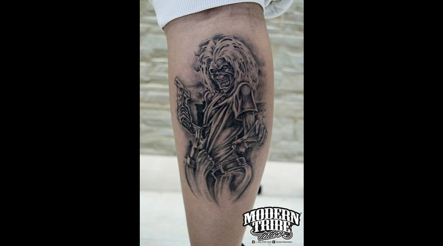 Healed Tat Of Eddie From Iron Maidens Killers Lower Leg
