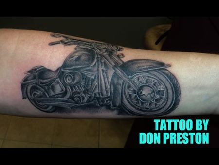Motorcycle  Arm Tattoo Black White