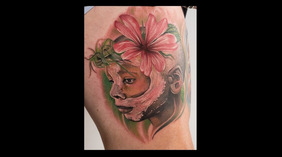 African Tribe Tattoo  Photorealism Realism Color Portrait  Color Tattoo Thigh
