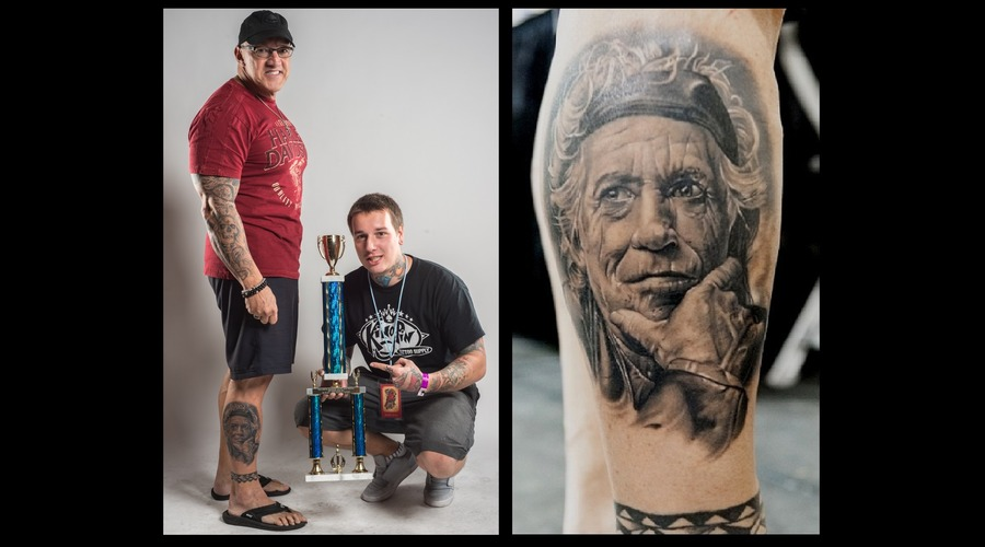 Keith Richards Tattoo 1st Place Black And Grey  1st Place Best Portrait  Lower Leg