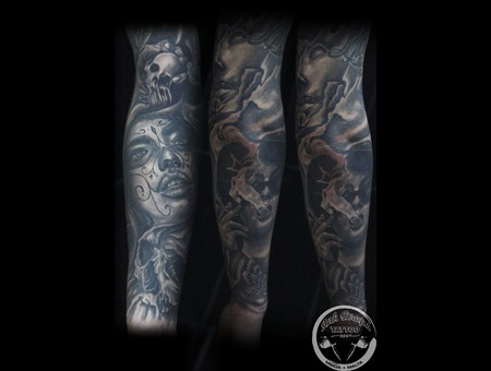 Black&Grey  Full Sleeve  Arm