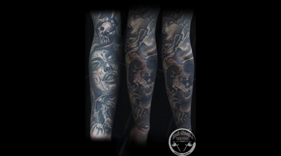 Black&Grey  Full Sleeve  Arm