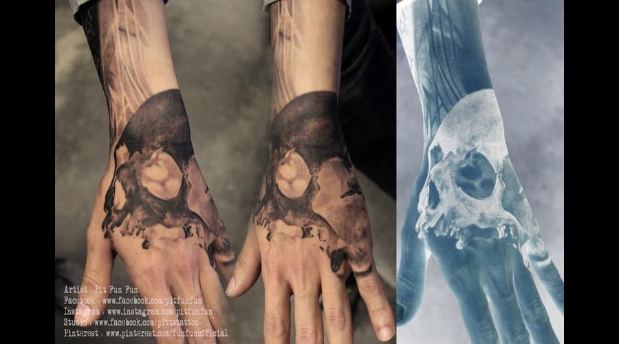 Negative Skull Tattoo By Pit Fun Fun