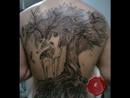 Tree  Back Tattoo Black White