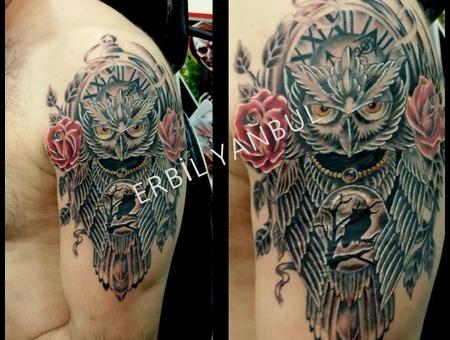 Owl Owl Tattoo  Bayku? Bayku? Dövmesi  Erbil Yanbul  Scorpion Ink Tattoo  Arm