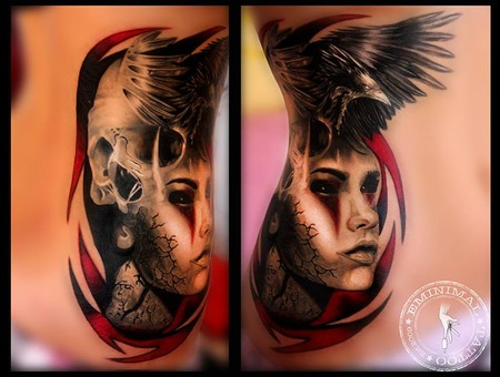 Girl Skull Crow Ribs