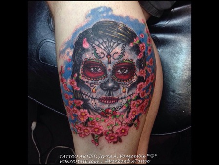 Portrait  Los Muertos  Skull.  Cherry Blossoms  Dia De  Death Lower Leg