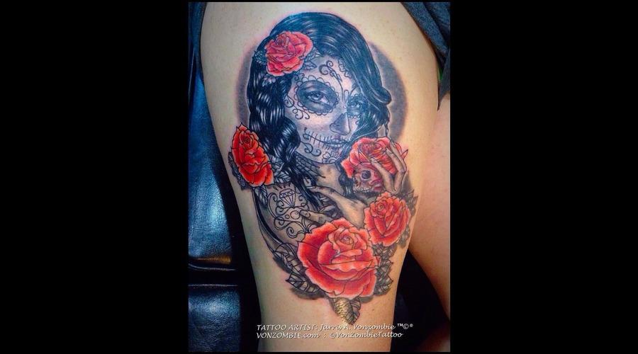 Portrait  Los Muertos  Skull.  Dia De  Death  Roses Thigh