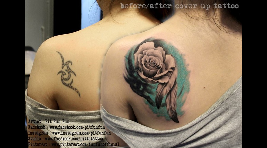 Cover Up Tattoo With Realistic Rose And Feather By Pit Fun Fun. Shoulder