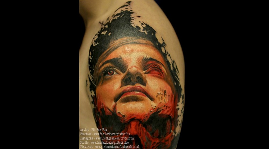 Close Up Color Portrait Tattoo By Pit Fun Fun Arm