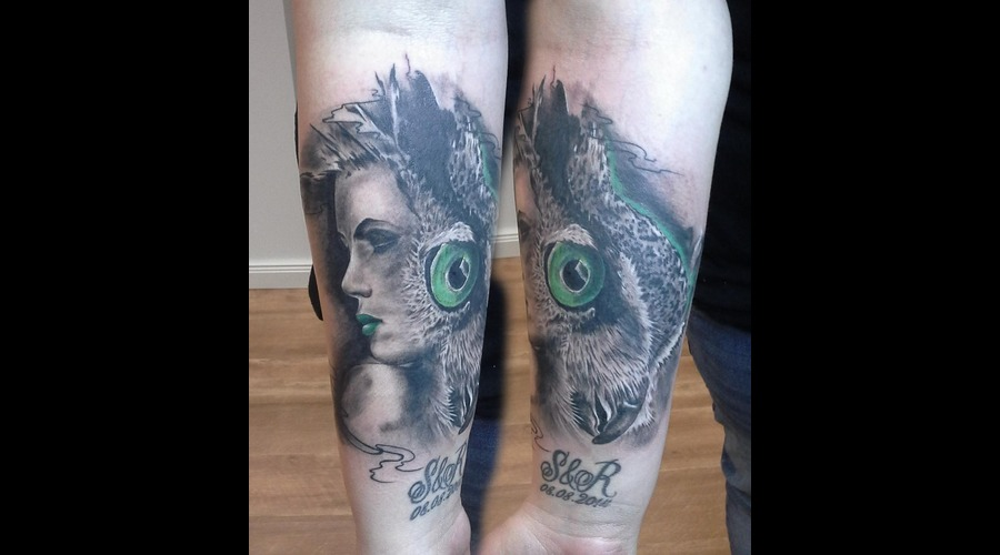Owl Girl .Design By Piotr Cwiek Tattoo By Me Forearm