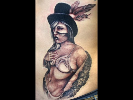 Native American  Native Woman  Rib Tattoo  Black And Grey  Pin Up   Ribs