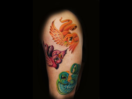 Color Tattoo  Birds  New School  Sparrows   Thigh