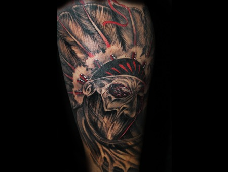 Native American  Native  Head Dress  Black And Grey  Zombie   Lower Leg