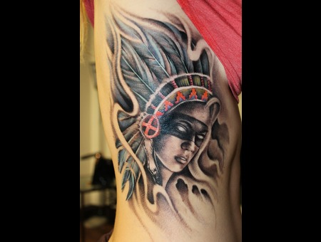 Native Warrior  Native Woman  Native American  Rib Tattoo  Feathers   Ribs