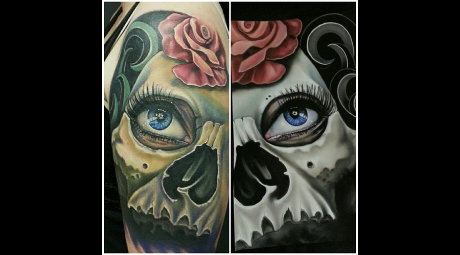 Skull  Rose Arm