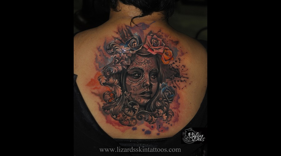 Day Of The Dead Tattoo Back