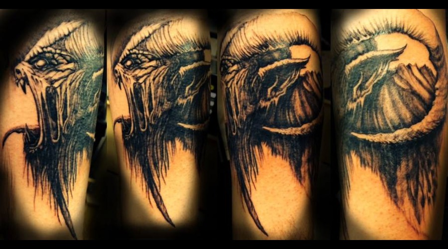 Demon Blackandgray Forearm