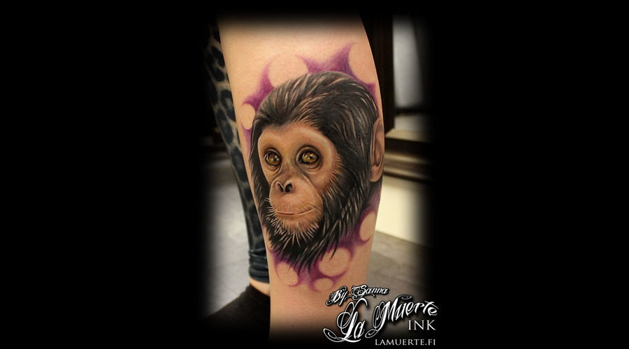 Monkey Tattoo Lower Leg