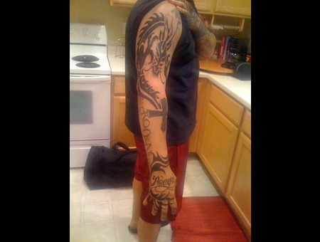 Full  Sleeve  Dragon  Tribal Black White
