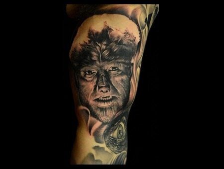 Old Wolfman Photorealistic Tattoo Portrait Tattoo Horror Movie Tattoos Arm