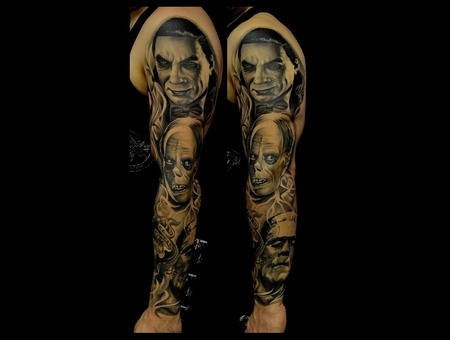 Healed Old Horror Sleeve  Horror Movie Tattoos Dracula Frankenstein Phantom Arm