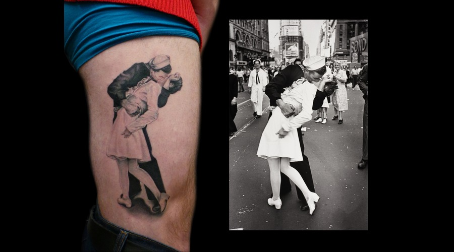 1945  Ny  Iconic  Kissing  Sailor Thigh