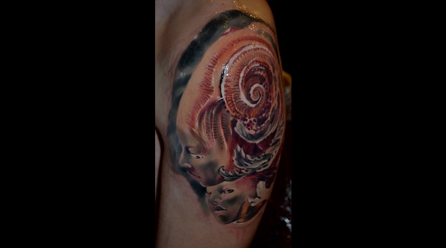 Zoltan Kriszan Portrait Virginie Ropars Color Tattoo Surrealism Arm