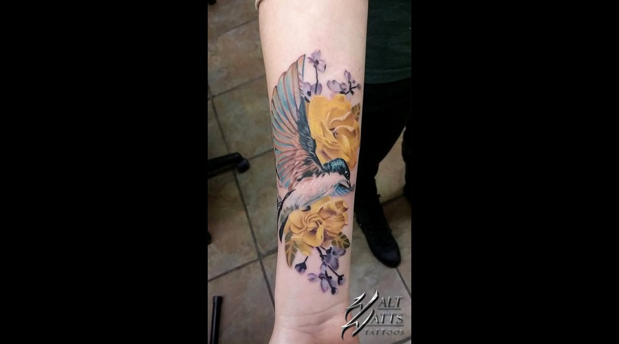 Swallow  Bird  Flower  Yellow Flower  Blue  Floral Forearm