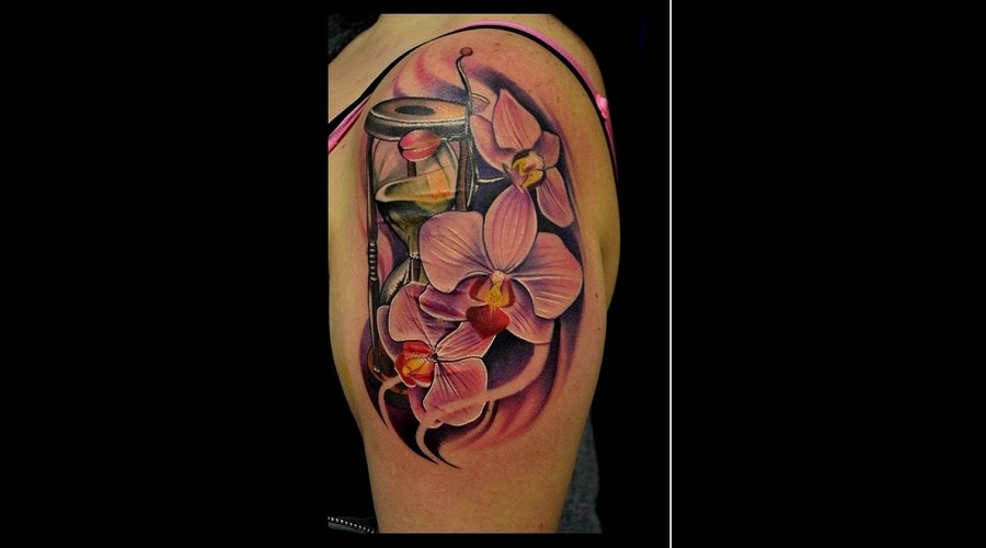 Orchids With Turn Timer  Color Tattoos  Hyper Realistic  Photo Realistic Arm
