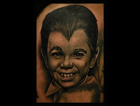 Eddie Munster Tattoo  Realistic Tattoo  Portrait  Black And Grey Tattoo  Thigh