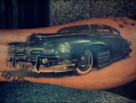 Car  Chevy  Coverup Blackandgrey   Arm