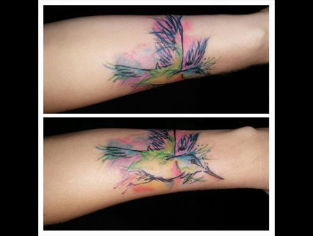 Abstract Hummingbird Watercolor Ink Splatter Freehand Forearm