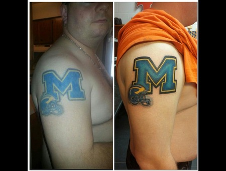 Before And After Michigan Football Touchup Fix Up Shoulder